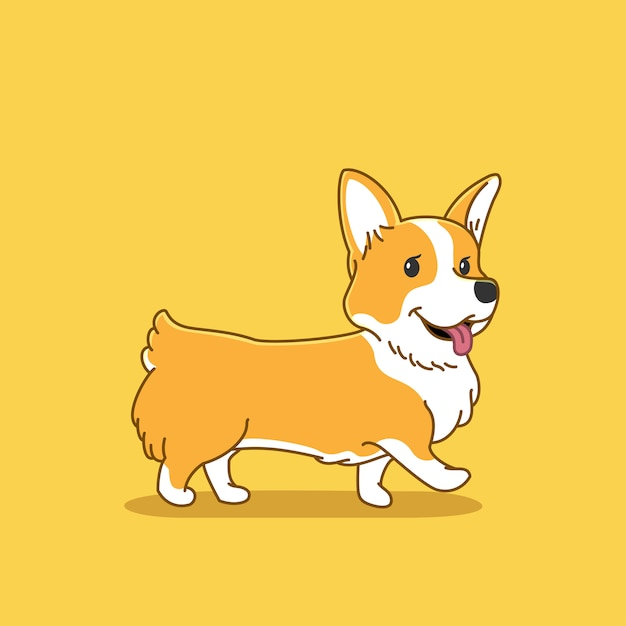 Cute corgi dog illustration Premium Vector
