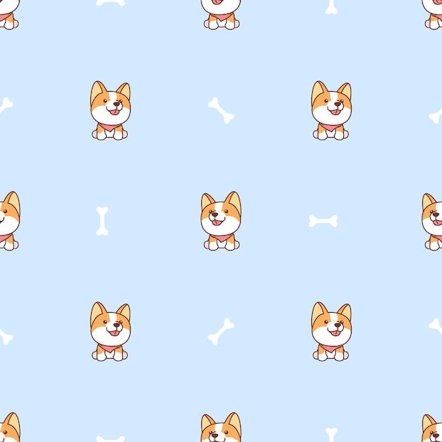 Cute corgi dog sitting and smiling cartoon seamless pattern Premium Vector