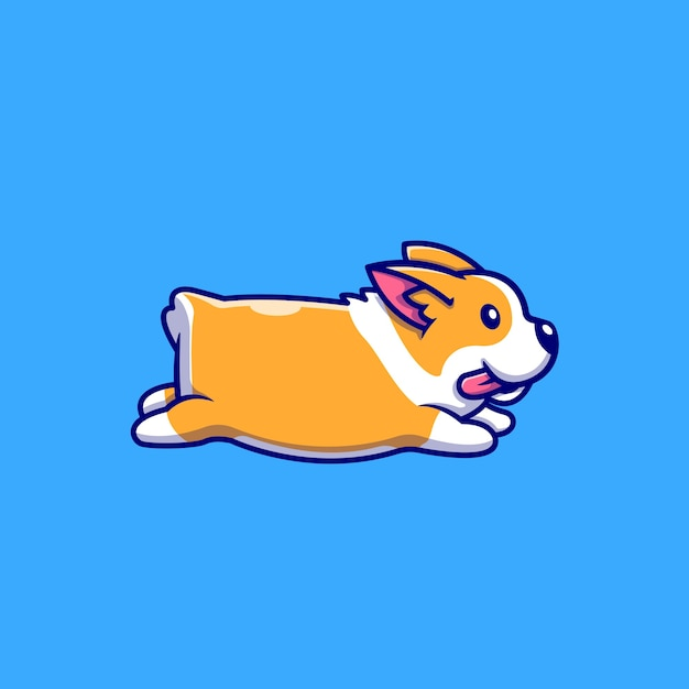 Cute corgi running cartoon illustration Free Vector