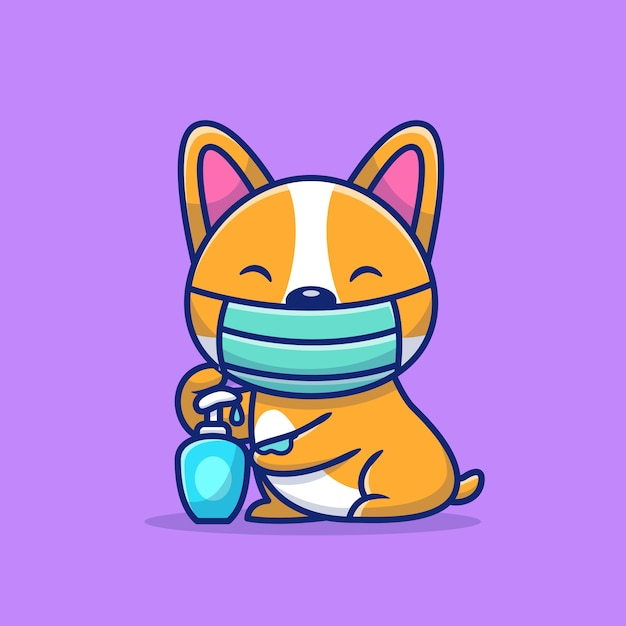 Cute corgi using mask and hand sanitizer   icon illustration. animal healthy icon concept   . Premium Vector