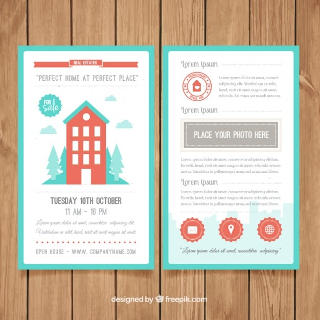 Cute Corporative Flyer Of Real Estate In Flat Design