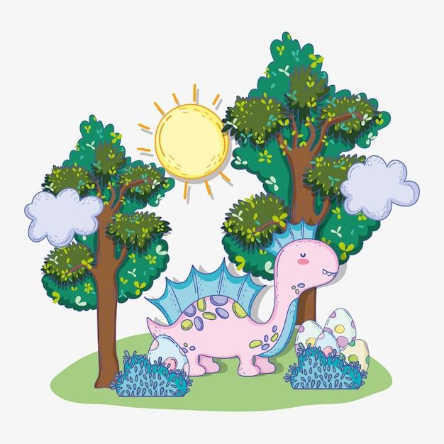 Милый коритозавр с яйцами в кустах и деревьях Premium векторы