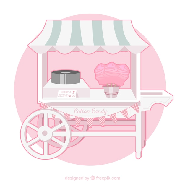 Cute cotton candy cart with awning