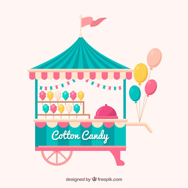 Cute cotton candy cart with balloons