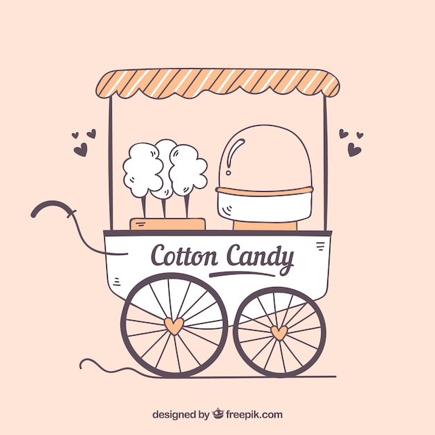 Cute cotton candy cart with hearts