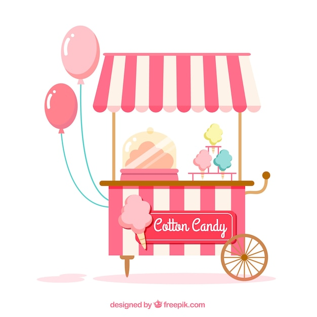 Cute cotton candy cart Vector | Free Download