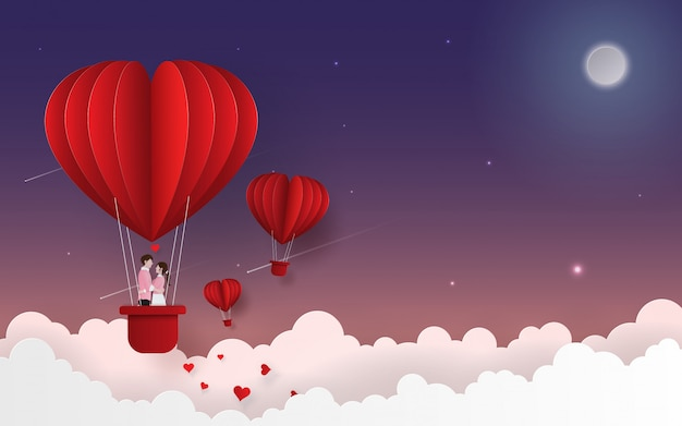 Cute couple on balloon floating on the sky Premium Vector