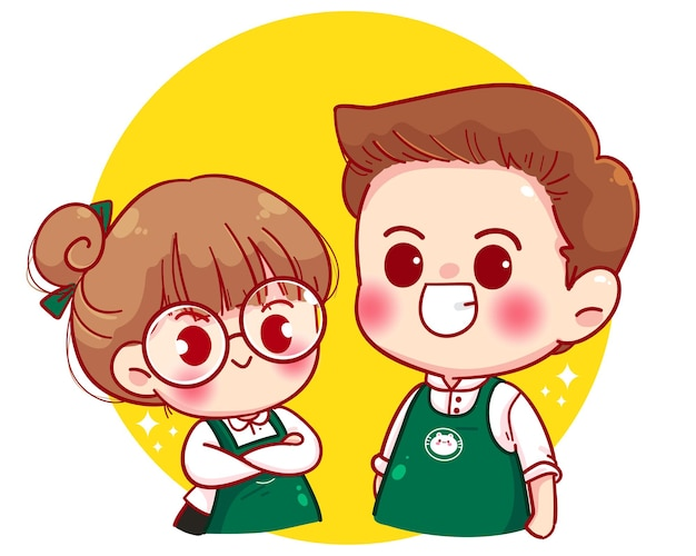 Cute couple barista in apron standing with arms crossed cartoon character illustration Free Vector