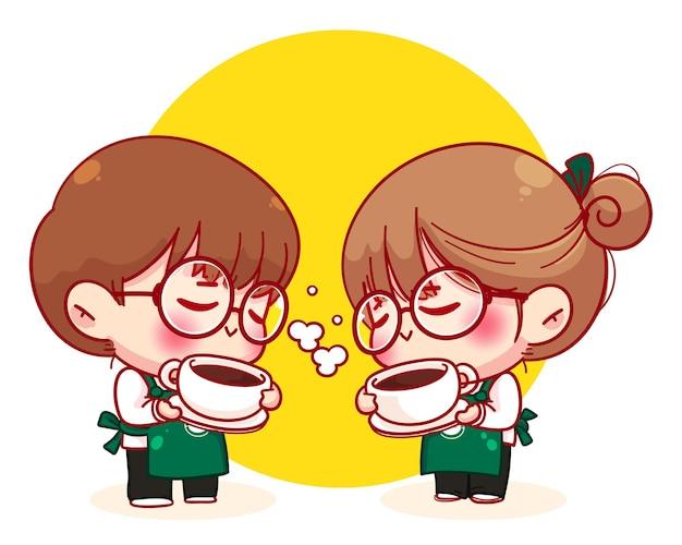 ホットコーヒーカップ漫画のキャラクターイラストを保持しているエプロンのかわいいカップルバリスタ 無料ベクター