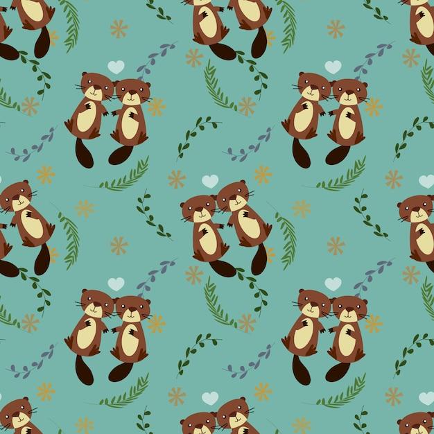 Cute couple beaver seamless pattern. Premium Vector