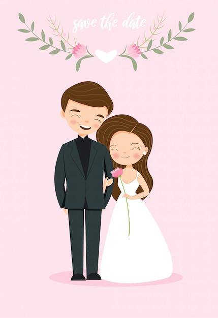Cute couple bride and groom for wedding invitation card Premium Vector