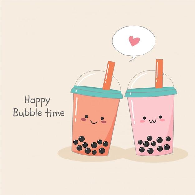 Cute couple bubble milk ice tea in plastic container banner Premium Vector