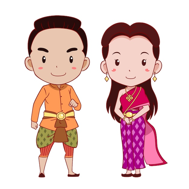Cute couple of cartoon characters in thai traditional costume. Premium Vector