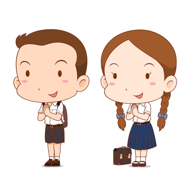 Cute Couple Cartoon Of High School Boy And Girl Premium Vector