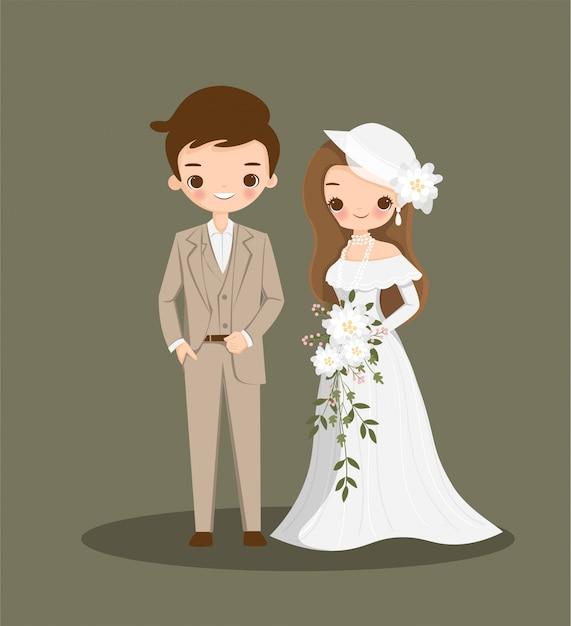 結婚式の招待カードのヴィンテージのドレスでかわいいカップル漫画 Premiumベクター