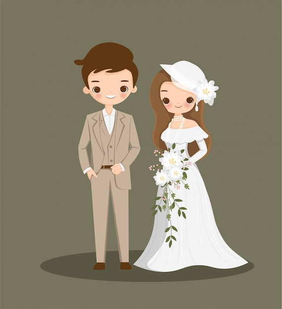 Cute couple cartoon in vintage dress for wedding inviation card Premium Vector