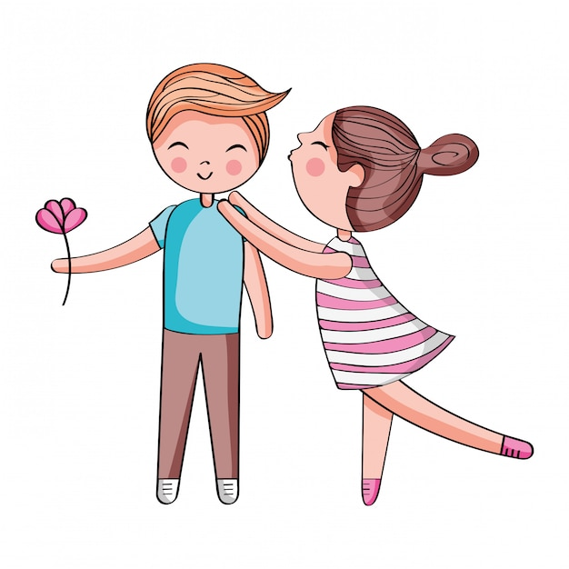 Cute Couple Cartoon Premium Vector