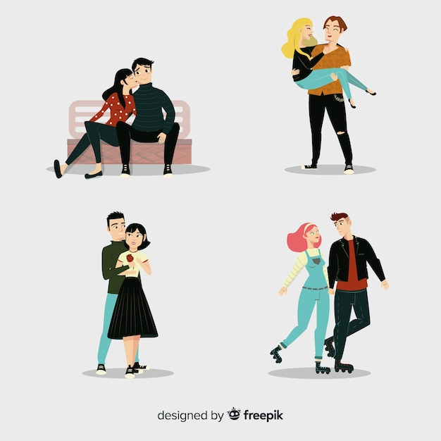 Cute couple doing activities in their spare time together Free Vector