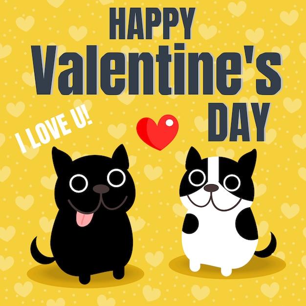 Cute couple french bulldog in valentine background. Premium Vector