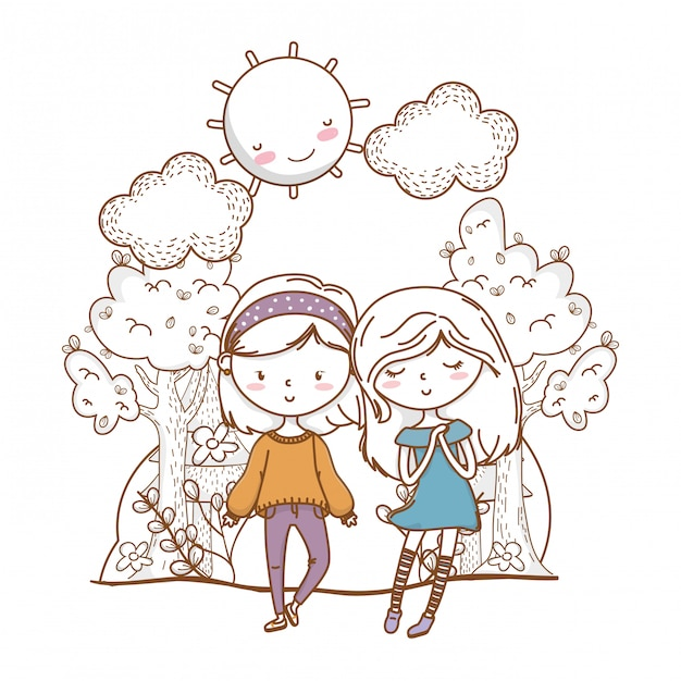 Cute couple girls friends nature Premium Vector