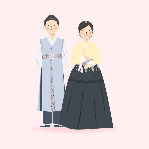 韓国の伝統的な韓服のかわいいカップルのイラスト結婚式の服 エレガントなかわいいカップルのイラスト プレミアムベクター