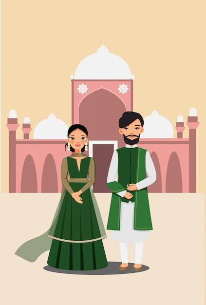 有名なパキスタンのマスジッド建築ベクトルと伝統的な衣装でかわいいカップル Premiumベクター