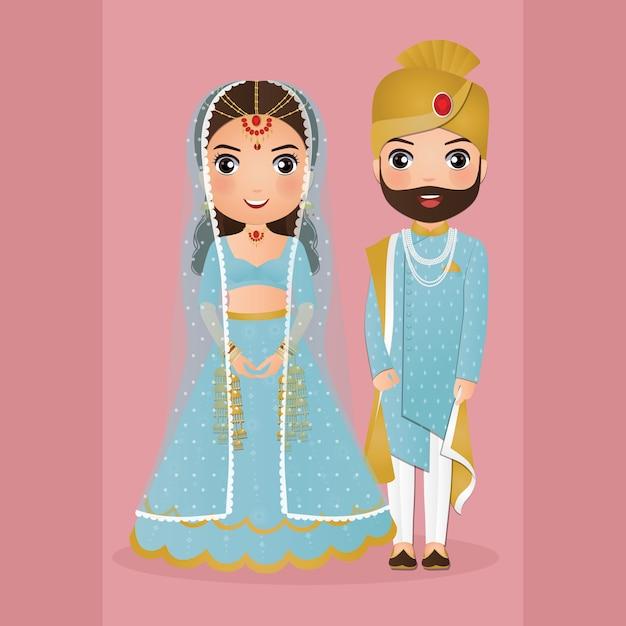 Милая пара в традиционном индийском платье мультипликационный персонаж. романтическая свадьба пригласительный билет Premium векторы
