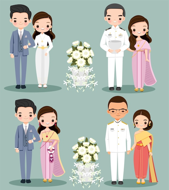 Cute couple intraditional dress for wedding invitation card Premium Vector