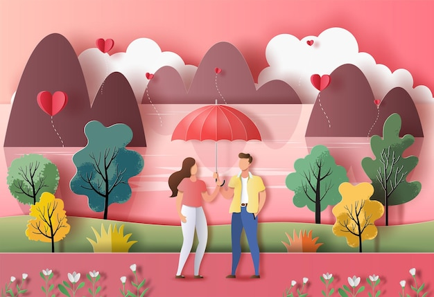 Cute couple in love holding an umbrella in a park in paper illustration Premium Vector
