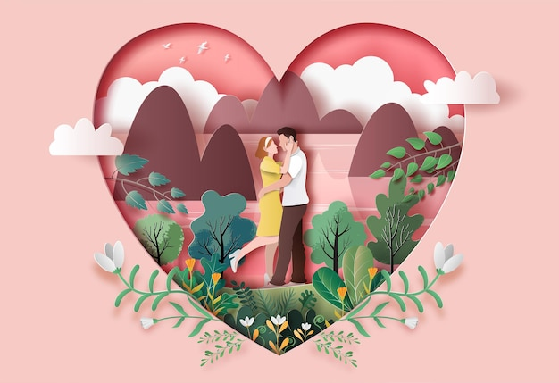 Cute couple in love hugging staring at each other's eyes in paper illustration Premium Vector