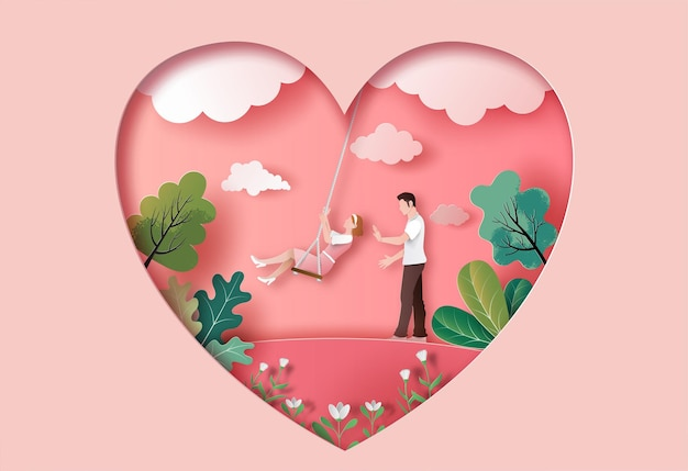 Cute couple in love in the park in paper illustration Premium Vector