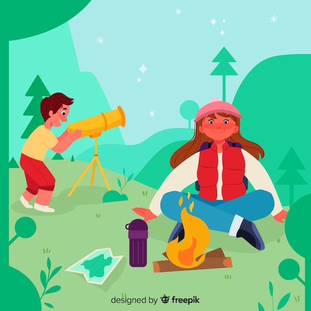 Cute couple making a fire in camping zone Free Vector