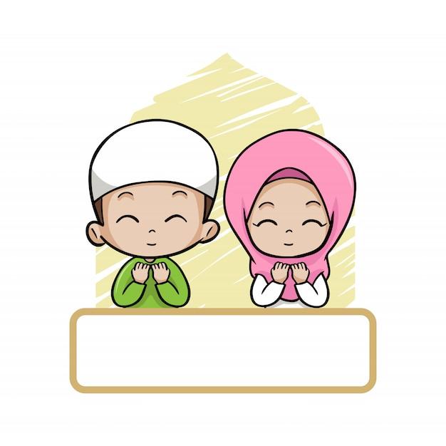 Cute couple moslem children pray Premium Vector