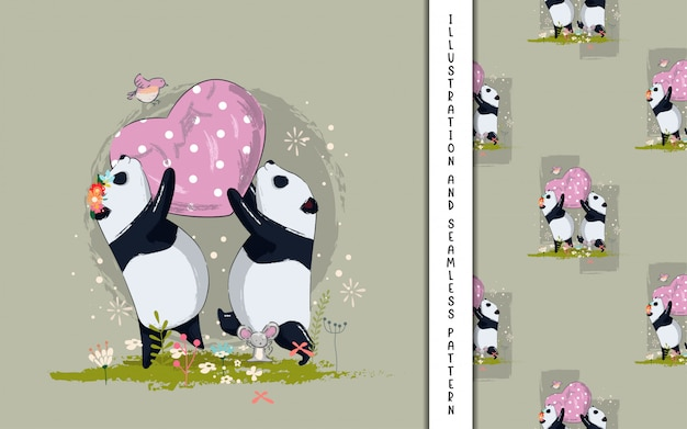 Cute couple panda with heart illustration for kids Premium Vector