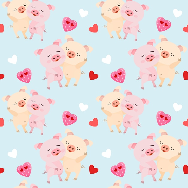 Cute couple pigs with heart shape seamless pattern. Premium Vector