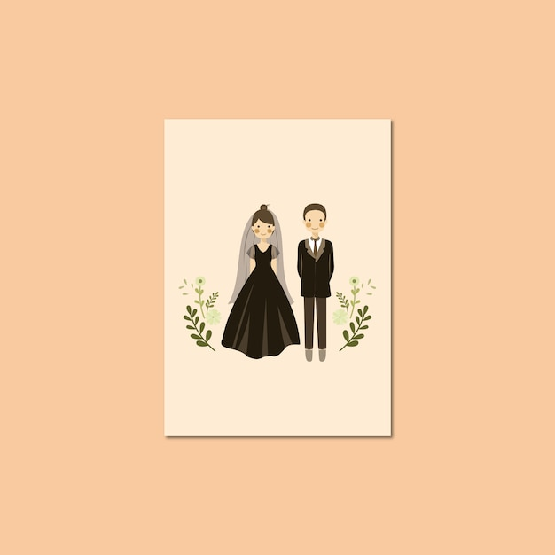 Cute couple portrait illustration Premium Vector