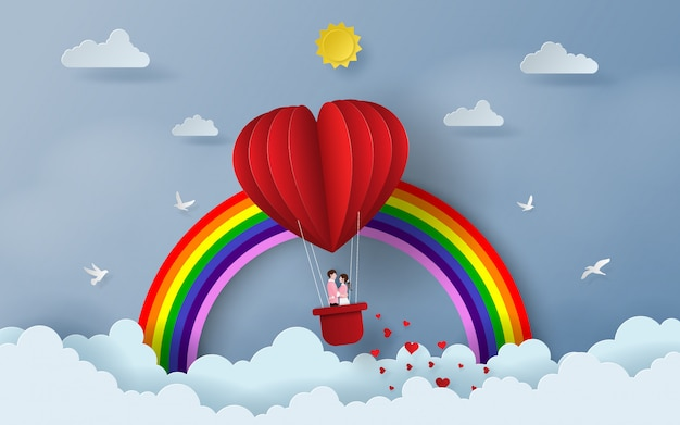 Cute couple on red heart shaped balloon Premium Vector
