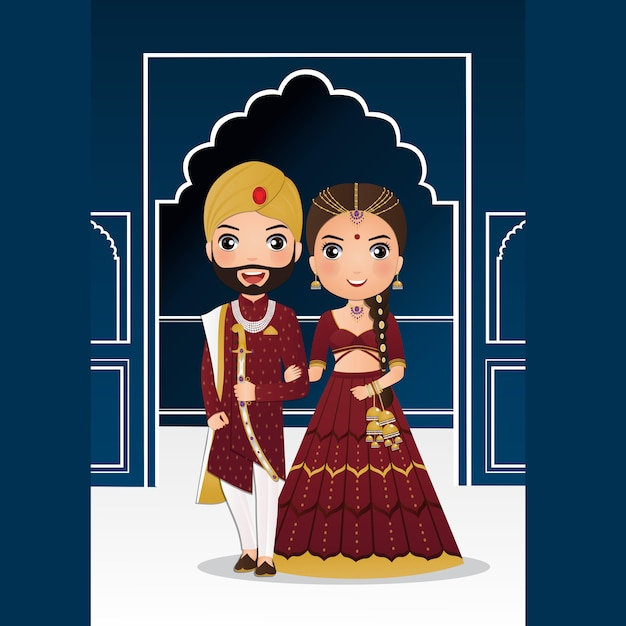 Cute couple in traditional indian dress cartoon character.romantic wedding invitation card Premium Vector