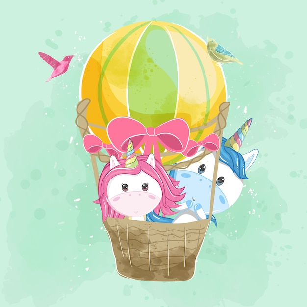 Cute couple unicorn flying with air balloon Premium Vector