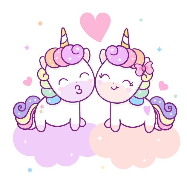 Cute couple unicorn vector for valentine day Premium Vector