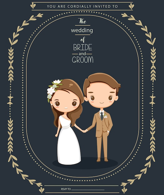 Cute couple in wedding invitations card Premium Vector