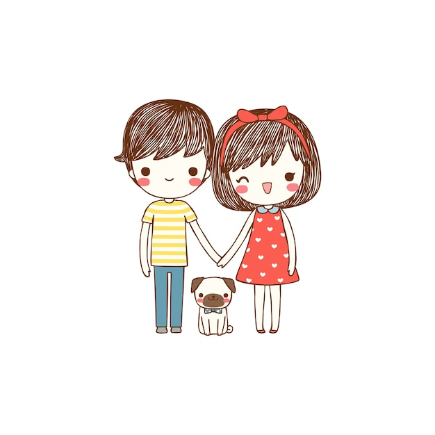 Cute Couple With Dog In Flat Style Premium Vector