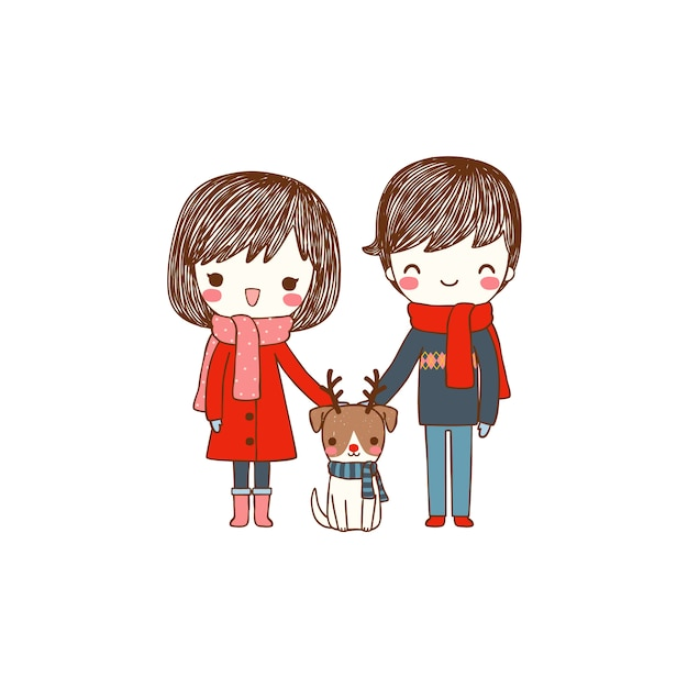Cute couple with dog in winter costume Premium Vector