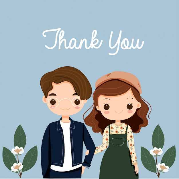 Cute Couple With Flower Cartoon For Thank You Card Premium Vector