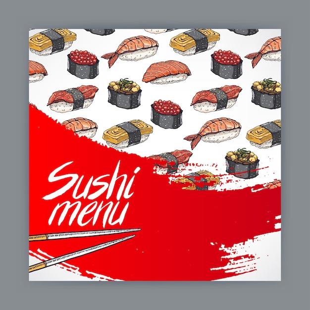 寿司メニューのかわいいカバー Premiumベクター