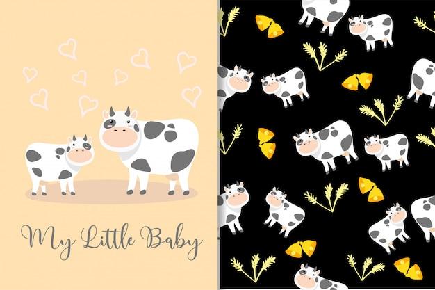 Cute cow animal hand drawn pattern set Premium Vector