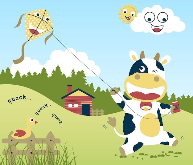 Cute cow cartoon vector playing kite in farm field Premium Vector