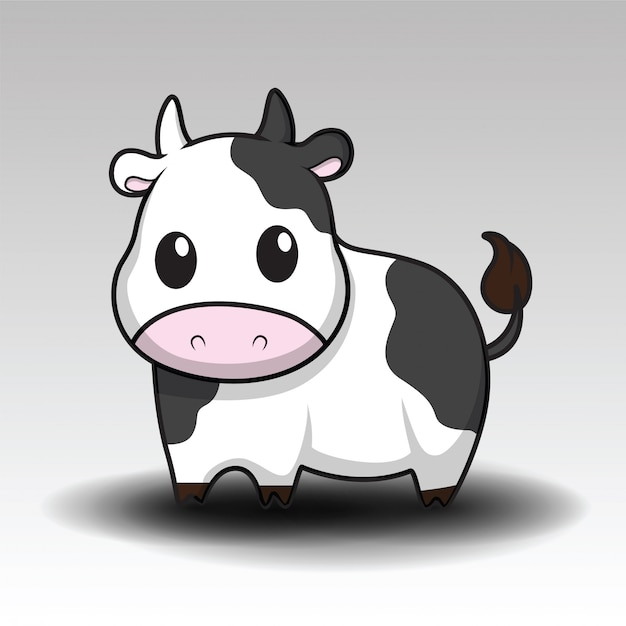 Cute cow cartoon Premium Vector