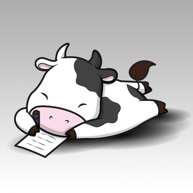 Cute cow cartoon Premium Vector