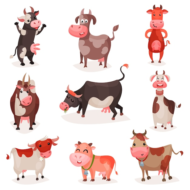 Premium Vector   Cute cow characters set, funny cows in different positions  cartoon illustrations